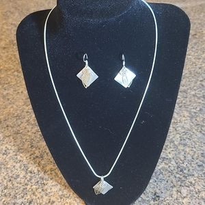 Necklace and Earring set Silver and Gold Accents
